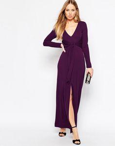 Vestito lungo con laccio e scollo profondo Viola
