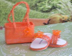 Orange Braided Sandals with Matching Purse for American Girl
