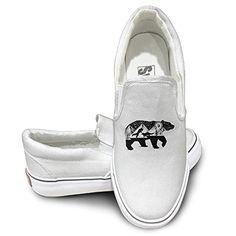 BEAR AND FOXES Art Black Slip-On Casual Shoes Sneakers Skateboard - Brought to you by Avarsha.com