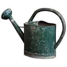 Early century, large painted French watering can with a detachable copper rose. Best Garden Tools, Gardening Tools, Hard Nails, Shabby Chic Garden, Vintage Industrial Decor, Copper Rose, Garden Accessories, Cool Plants, Antique Items
