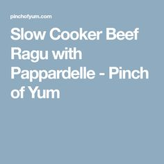 Slow Cooker Beef Ragu with Pappardelle - Pinch of Yum