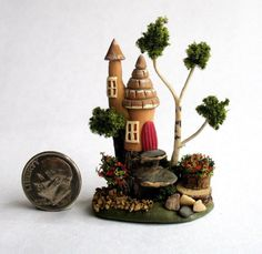 Handmade Miniature WHIMSY WOODLAND STUMP TOWER FAIRY COTTAGE HOUSE - by C. Rohal #CRohal