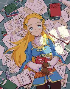 Legend of Zelda Breath of the Wild art > Princess Zelda in her study The Legend Of Zelda, Legend Of Zelda Breath, Yandere, Air Gear Characters, Princess Toadstool, Botw Zelda, Manga Anime, Gaming, Fandom