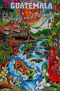 Vintage Guatemala Travel Poster - www.vacationsmadeeasy.com