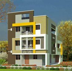 Narrow House Designs, Modern Exterior House Designs, Modern Apartment Design, House Outside Design, House Front Design, Southern House Plans, Family House Plans, House Elevation, Building Elevation