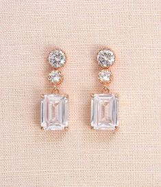 7d594217bc9 Crystal Bridal earrings Emerald Cut Wedding jewelry Rose gold Crystal  Wedding earrings Bridal jewelry