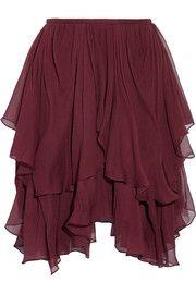 ChloéAsymmetric layered silk-georgette mini skirt