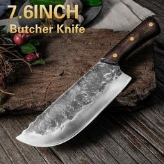 7.6inch Handmade Forged Kitchen Knife Butcher Meat Chopping Cleaver Chinese Chef Knife 5CR15 Stainless Steel Forged Knife, Forging Knives, Cooks Knife, Chef Knife, Chopping Knife, Best Kitchen Knives, Kitchen Tools, Cleaver Knife, Engraved Knife