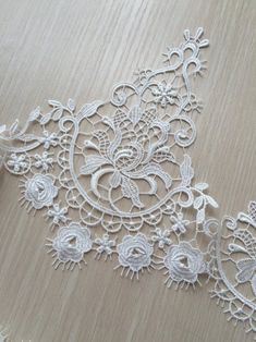 Your place to buy and sell all things handmade Lace Flowers, Embroidered Flowers, Tulle Lace, Lace Fabric, Lace Patterns, Crochet Patterns, Crochet Necklace Pattern, Cow Skull, Chantilly Lace