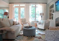 How to Properly Hang Window Treatments :unite connect windows and french doors with the same treatment-curtain