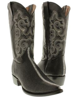 mens black stingray row stone western exotic leather cowboy boots team west