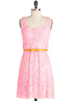 Carefree for Dinner Dress - Pink, Lace, Party, A-line, Tank top (2 thick straps), Summer, Mid-length, Belted, Pastel, Cocktail