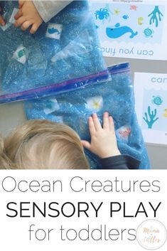 Ocean Creatures Mess Free Sensory Play for Toddlers Sensory Activity for Toddlers exploring the ocean, looking for sea creatures, while working on fine motor skills! Art Activities For Toddlers, Lesson Plans For Toddlers, Sea Activities, Animal Activities, Infant Activities, Art For Toddlers, Toddler Fine Motor Activities, Parenting Toddlers, Parenting Styles
