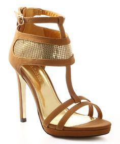 Another great find on #zulily! Camel & Gold Sparkle Rayna T-Strap Sandal #zulilyfinds