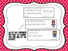 I can statements for Common Core! Amazing :) Want this asap. I think they have other grades other than K too. Common Core Posters, Classroom Inspiration, Classroom Ideas, 7th Grade Ela, Classroom Organization, Classroom Management, I Can Statements, Middle School English, English Reading