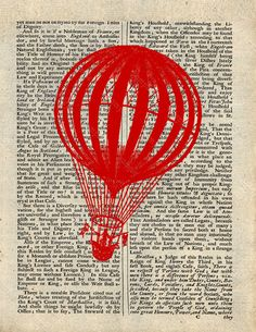 Instant Digital download of  Hot AIrballoon     by VintageLithoArt