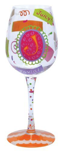 "$25.99-$25.99 Lolita Love My Letter, Initial ""J"" Wine Glass - The Letters J wine glass from the Lolita's Love My Letter Collection from Santa Barbara Design has a unique recipe hand painted on the bottom of each glass. Original Lolita Yancey design on a 15-ounce wine glass. A great gift for the wine lover, this popular new shape for wine glasses is appropriate for either red or white wine and is ..."