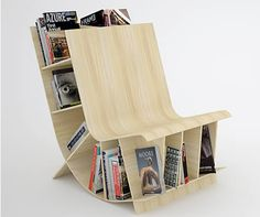 This bookshelf/chair was made by Elie Nehme and Mani Mani, a couple of young canadian designers from the Fishbol Design Atelier.  (Cushions, please!)