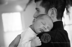 Dad and new baby boy | PROFESSIONAL PHOTOGRAPHER Nina Pomeroy | Connecticut Family Baby Portraits | black and white photos | environmental home baby photos