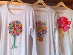 T shirts: Tree of life with mini crochet flowers and patchwork flowers