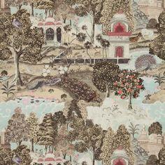 Zoffany Wallpaper Jaipur Peacock Garden Linen/Silver