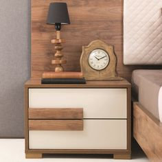 Adam and Illy Aura Nightstand, Marble Walnut/Ceramic Space Saving Furniture, Bed Furniture, Home Decor Furniture, Furniture Design, Side Tables Bedroom, Bedroom Sets, Modern Bedroom Design, Bed Design, Bedside Table Design