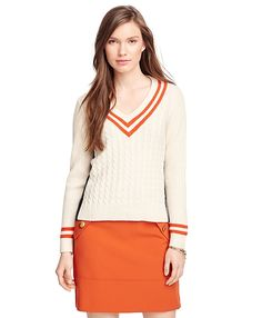 Preppy Lambswool Tennis Sweater in Ivory and Orange by Brooks Brothers Red Fleece Collection Prep Style, Brooks Brothers, Cable Knit, Shirt Outfit, Preppy, Tennis, Personal Style, Autumn Fashion, Short Dresses
