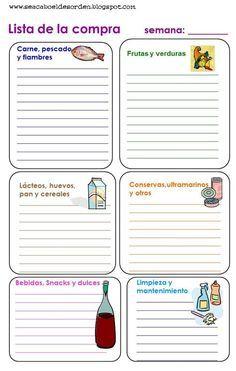 Se acabó el desorden: Imprimibles para organizarse: La lista de la compra y como…