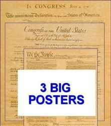 "Posters of the Declaration of Independence, Constitution, and Bill of Rights 23"" x 29"""