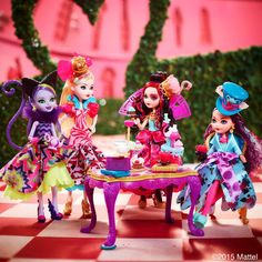Kitty Cheshire, Apple White, Lizzie Hearts and Madeline Hatter Way Too Wonderland Ever After High Dolls, 2015