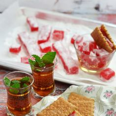 Turkish Delight Recipe Desserts with granulated white sugar, lemon juice, cold water, corn starch, cream of tartar, essence, red food coloring, corn starch, confectioners sugar