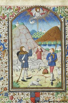 Book of Hours, MS G.55 fol. 57v - France, Langres, ca. 1465 - Shepherds: Annunciation
