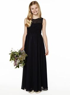Navy Long Chiffon Dress - young bridesmaids - Wedding