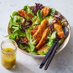 Homemade Chicken Tenders with Everything Bagel Seasoning over Salad Using everything bagel spice is a quick way to season and add extra crunch to breadcrumbs for chicken tenders. If you can't find any premixed,. Everything Bagel, Chicken Salad Recipes, Salad Chicken, Chicken Meals, Heart Healthy Recipes, Diabetic Recipes, Filets, Chicken Tenders, Chicken Breasts