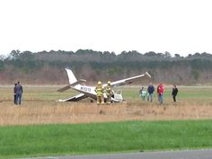 Ches nose of plane crushed in grassy area at HR Executive Airport. @13NewsNow