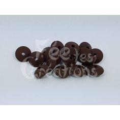 Lot de 10 Perles Plates forme lentilles marron en silicone
