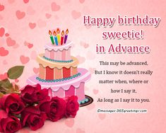 Advance Birthday Wishes Messages And Greetings