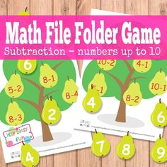 PearTree Math File Folder Game Subtraction Free Printable: