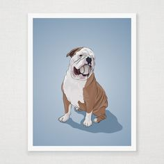 Bulldog With Baseball Print