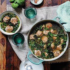 Turkey Meatball Soup with Greens. Hearty and tasty. Add a couple of finely diced jalapenos to the turkey meatball mixture for just a little bit of a kick that goes nicely with the greens.