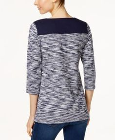 Charter Club Petite Space-Dyed Top, Only at Macy's - Blue P/XS