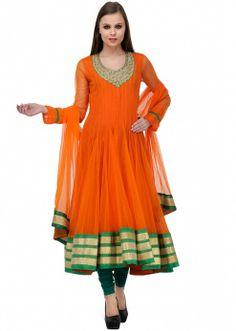 Orange Embellished Anarkali Suit Set