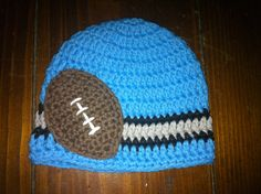 Crocheted Cotton Hat Inspired By Detroit Lions NFL Colors - Great Photo Prop. $17.99, via Etsy.