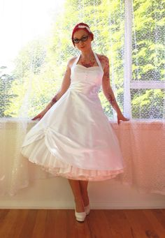 1950s 'Cecilia' Pin up Wedding Dress with by PixiePocket on Etsy, $315.00