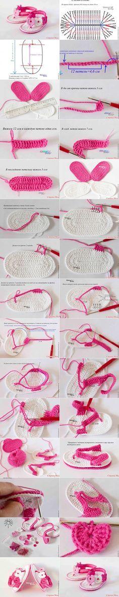 Sandálias crochet para menina                                                                                                                                                     Mais