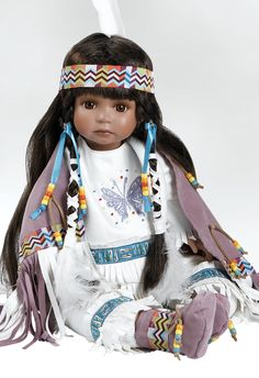 Native American Indian Doll - Aponi, Stands 19 inches in Porcelain