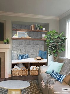 Many homes have those potentially awkward alcoves that are tricky to decorate. Try these creative nook decorating ideas plus tips for a nautical nook. Living Room Nook, Alcove Ideas Living Room, Cosy Living Room, Living Room Decor Cozy, Living Dining Room, Farmhouse Decor Living Room, Log Burner Living Room, Bedroom Nook, Alcove Seating