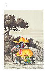 scene of old india, framed on silk