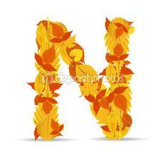 Hojas de otoño vector fuente. Letra N — Vector de stock #41969637