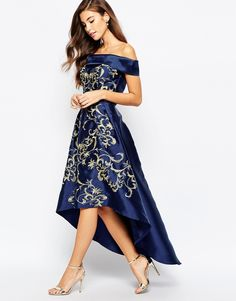 Chi Chi London Off Shoulder High Low Dress With Baroque Embroidery